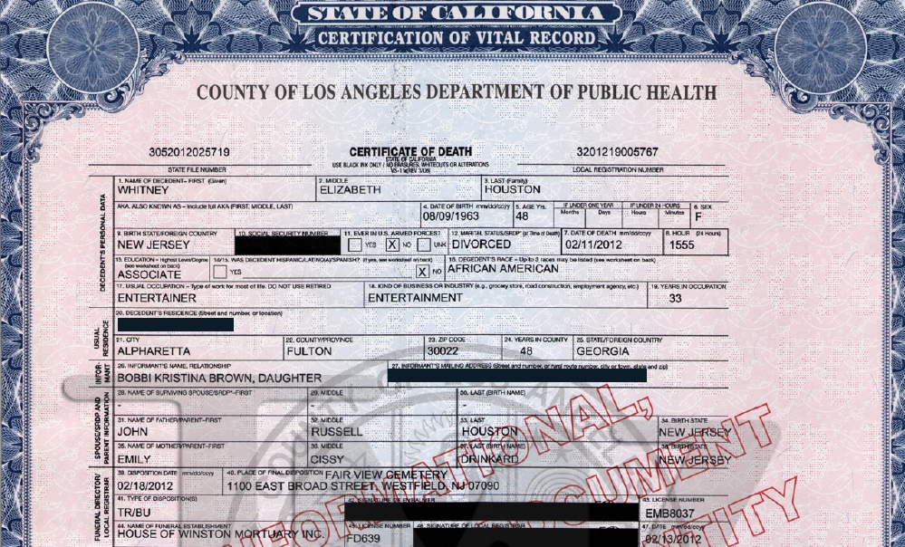 Just In Whitney Houstons Death Certificate Cause Of Death