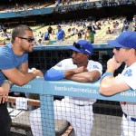 Wilmer Valderrama chats with Dodgers players at Viva Los Dodgers Day (LA Dodgers/Jon Soohoo)