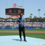 Wilmer Valderrama prepares to throw the first pitch(L.A. Dodgers/Jon Soohoo)