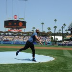 Wilmer Valderrama throws the first pitch (L.A. Dodgers/Jon Soohoo)