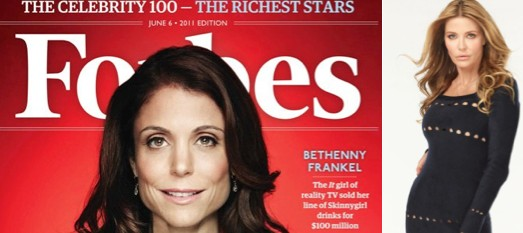 Bethenny Frankel on the cover of Forbes in June 2011, and The Real Housewives of Vancouver's Ronnie Negus, who says Bethenny's brand-building success is the envy of other Housewives.
