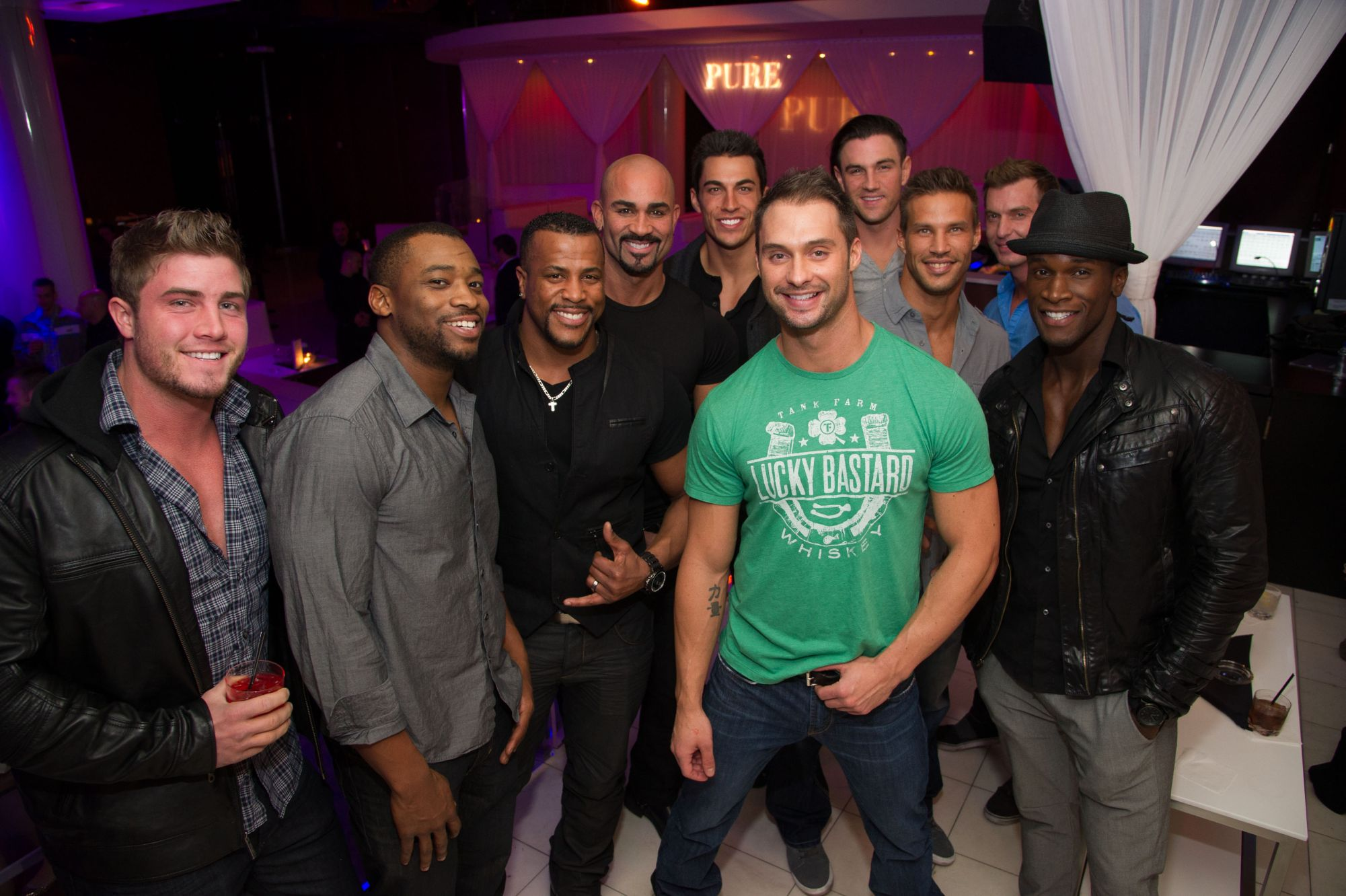 The Chippendales crew celebrate their 2013 calendar release at PURE nightclub in Las Vegas Dec. 16. From left to right: Gavin McHale, Kenny King, Bryan Cheatham, John Rivera, Jon Howes, Mikey Cross, Sami Eskelin, John Cook, Chaun Thomas and center James Davis. ( Al Powers/Powers Imagery)