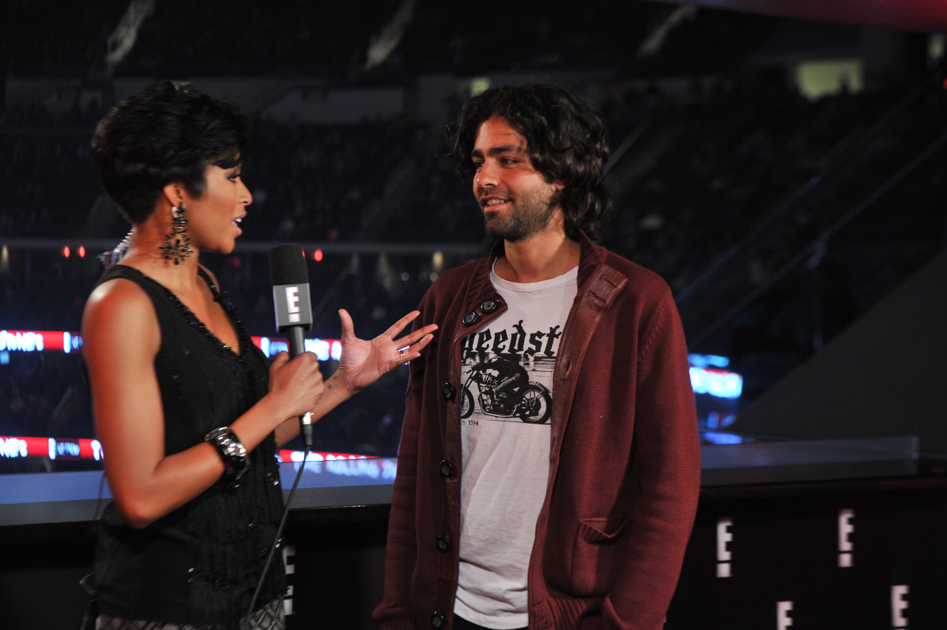 Adrien Grenier being interviewed at the WWE/E! Live pre show for the Rolling Stones concert at the Prudential Center on Dec. 15 in Newark. N.J. (WWE)