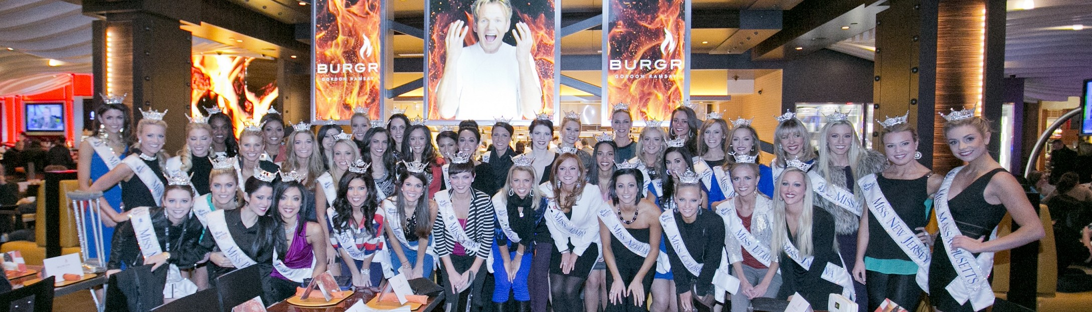 3 contestants of the 2013 Miss America Pageant dining at Gordon Ramsay BurGR at Planet Hollywood Resort & Casino on Friday, Jan. 11, 2013.