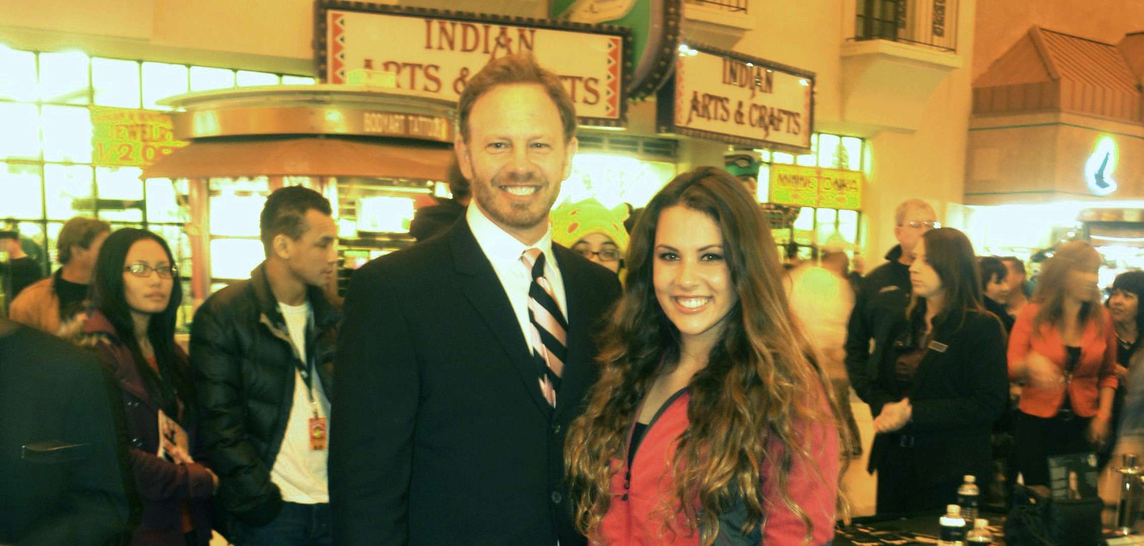 Actor Ian Ziering and drag racing beauty Ashley Sanford at the D Las Vegas on Fremont Street. (Tim Marshall)