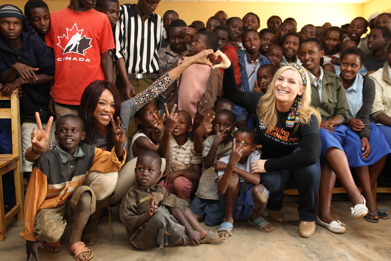 WWE Divas Alicia Fox (left) and Natalya (right) in Rwanda with UN's