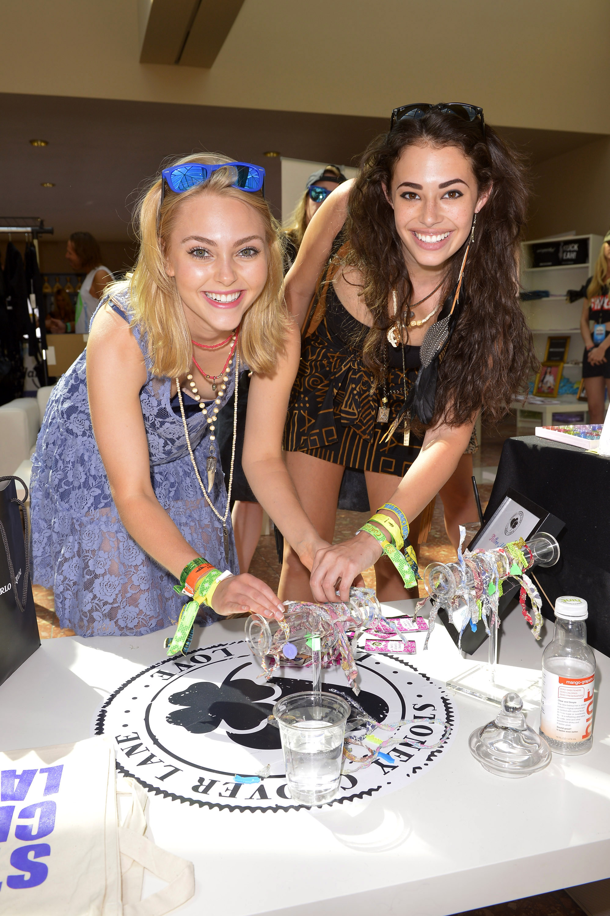 AnnaSophia Robb and Chloe Bridges at the Hard Rock Music Lounge Fools Gold Sunset Party April 14 in Palm Spring, Calif., during Coachella.