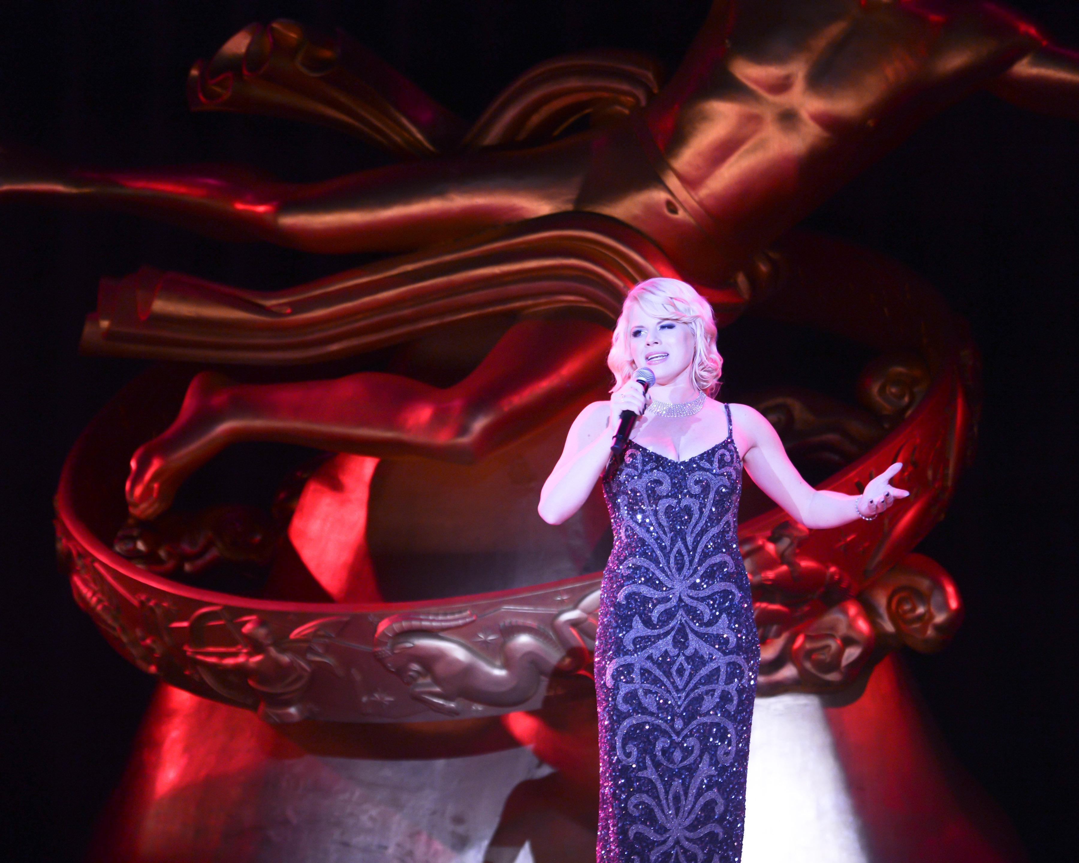 Smash star Megan Hilty performs at the Tiffany & Co. Blue Book Ball at Rockefeller Center in NYC April 18, where Moet & Chandon Imperial Champagne (featured in The Great Gatsby) flowed freely.