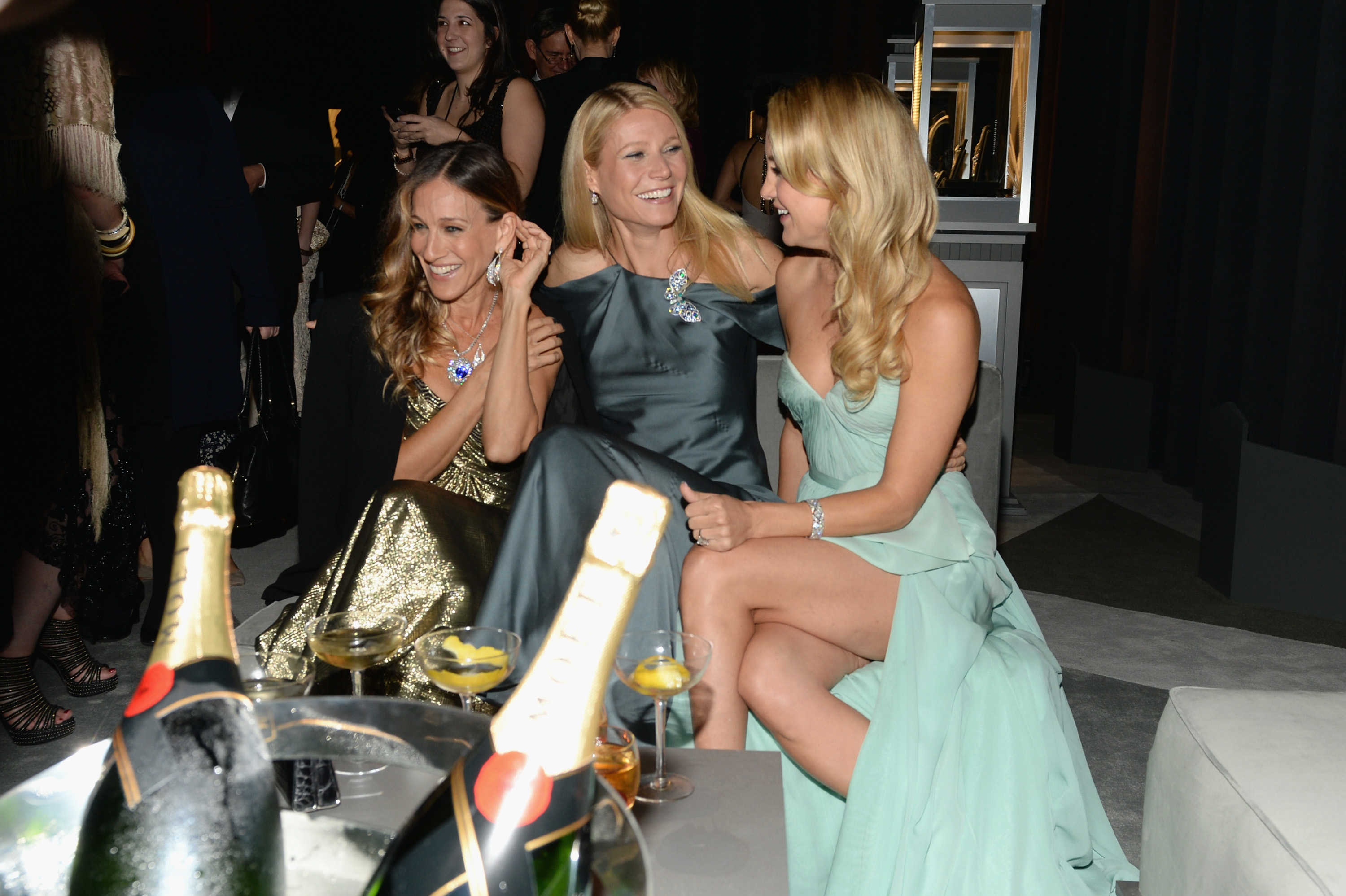 Gwyneth Paltrow, Sarah Jessica Parker and Kate Hudson at the Tiffany & Co. Blue Book Ball at Rockefeller Center in NYC April 18, where Moet & Chandon Imperial Champagne (featured in The Great Gatsby) flowed freely.