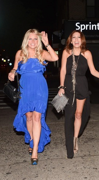 City Girl Diaries stars Kelly Brady (left) and Leila Shams outside The DL restaurant and lounge on Manhattan's Lower East Side, where Brady celebrated her birthday July 3.