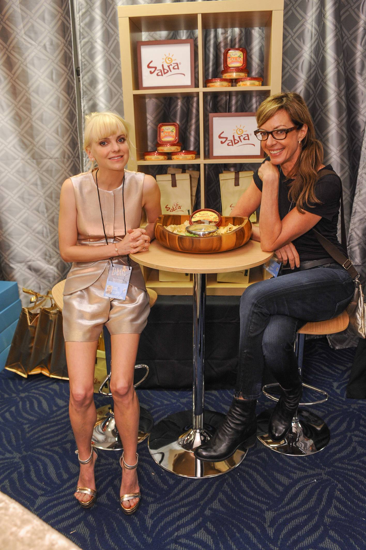 Anna Ferris and Allison Janney, co-stars in the new CBS sitcom Moms, at the 65th Emmy Awards Giving Suite by Backstage Creations Sept. 21 in L.A. (Adrian Sidney/Invision)