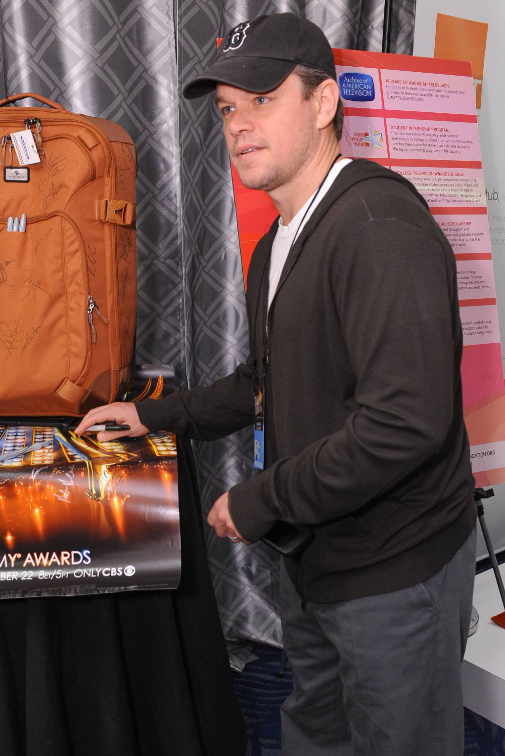 Matt Damon at the 65th Emmy Awards Giving Suite by Backstage Creations Sept. 21 in L.A. (Adrian Sidney/Invision)