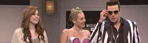 WATCH: Miley Cyrus On 'SNL'....Opening Monologue, Scarlett Johansson & Michelle Bachman Spoofs, Performs 'We Can't Stop' & 'Wrecking Ball'