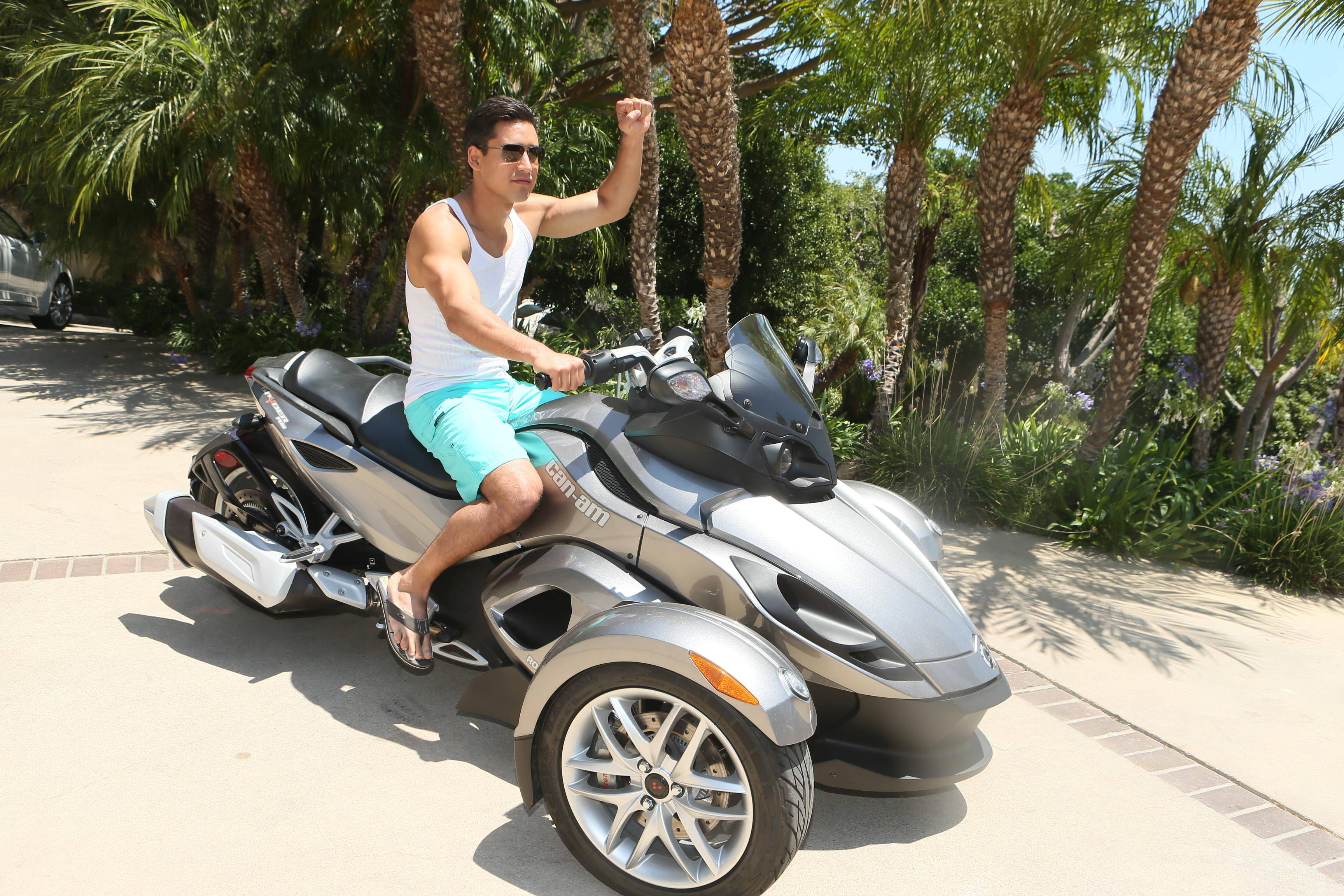 Mario Lopz goes for a spin in Malibu on the new Can-Am Spyder.