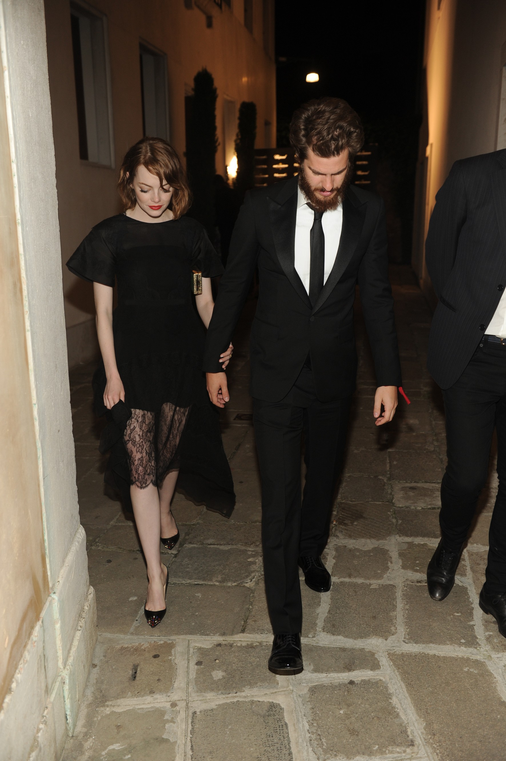 Emma Stone and Andrew Garfield attend The PalazzinaG Hotel's 71st Venice Film Festival Dinner & Party sponsored by Chopard, Moët Chandon and Cotril