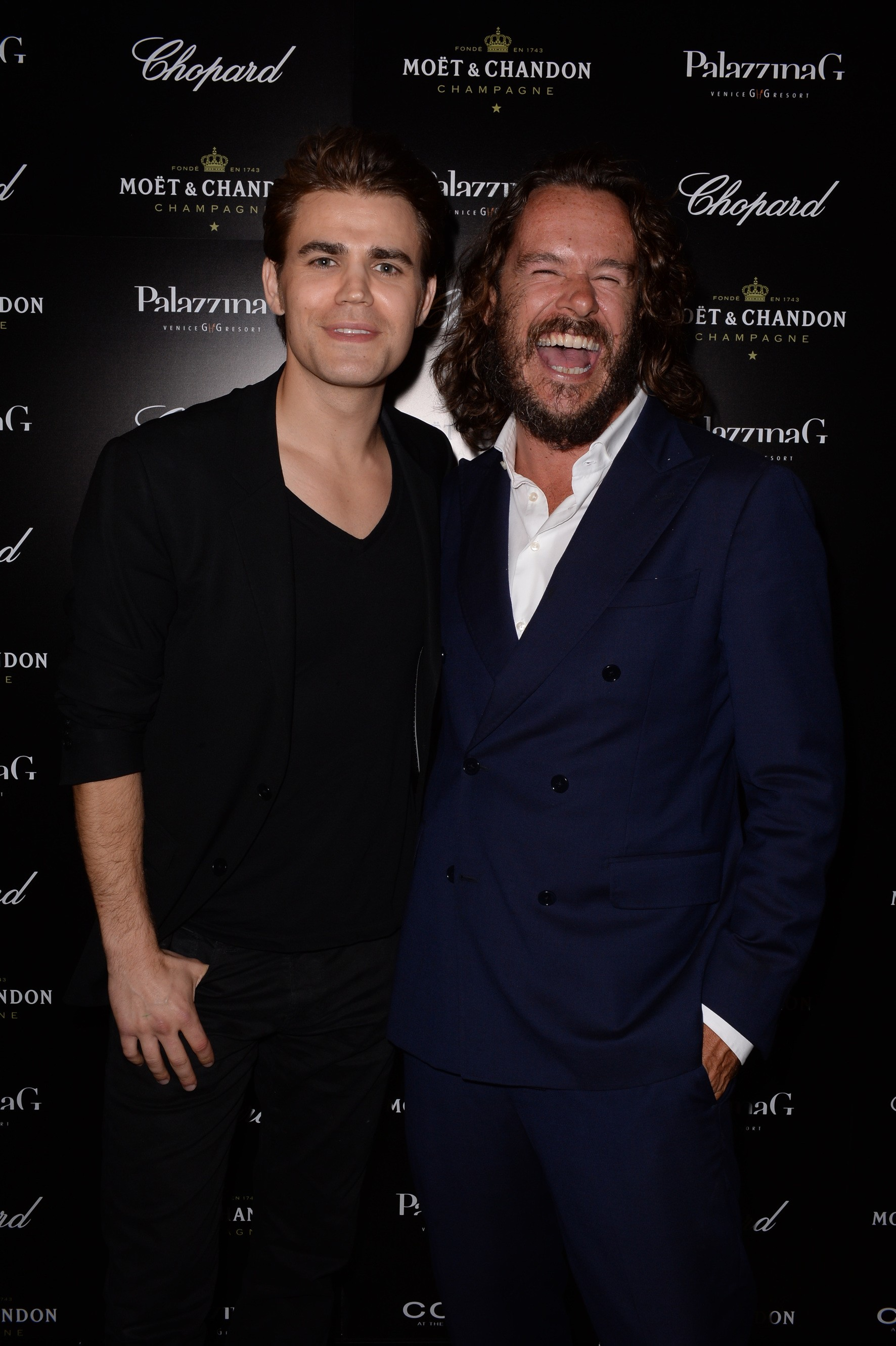 Paul Wesley and PalazzinaG Hotel owner Emanuele Garosci at a Venice Film Festival event Aug. 27, sponsored by Chopard, Moët Chandon and Cotril. ( Stefano Guindani/sgpitalia.com)
