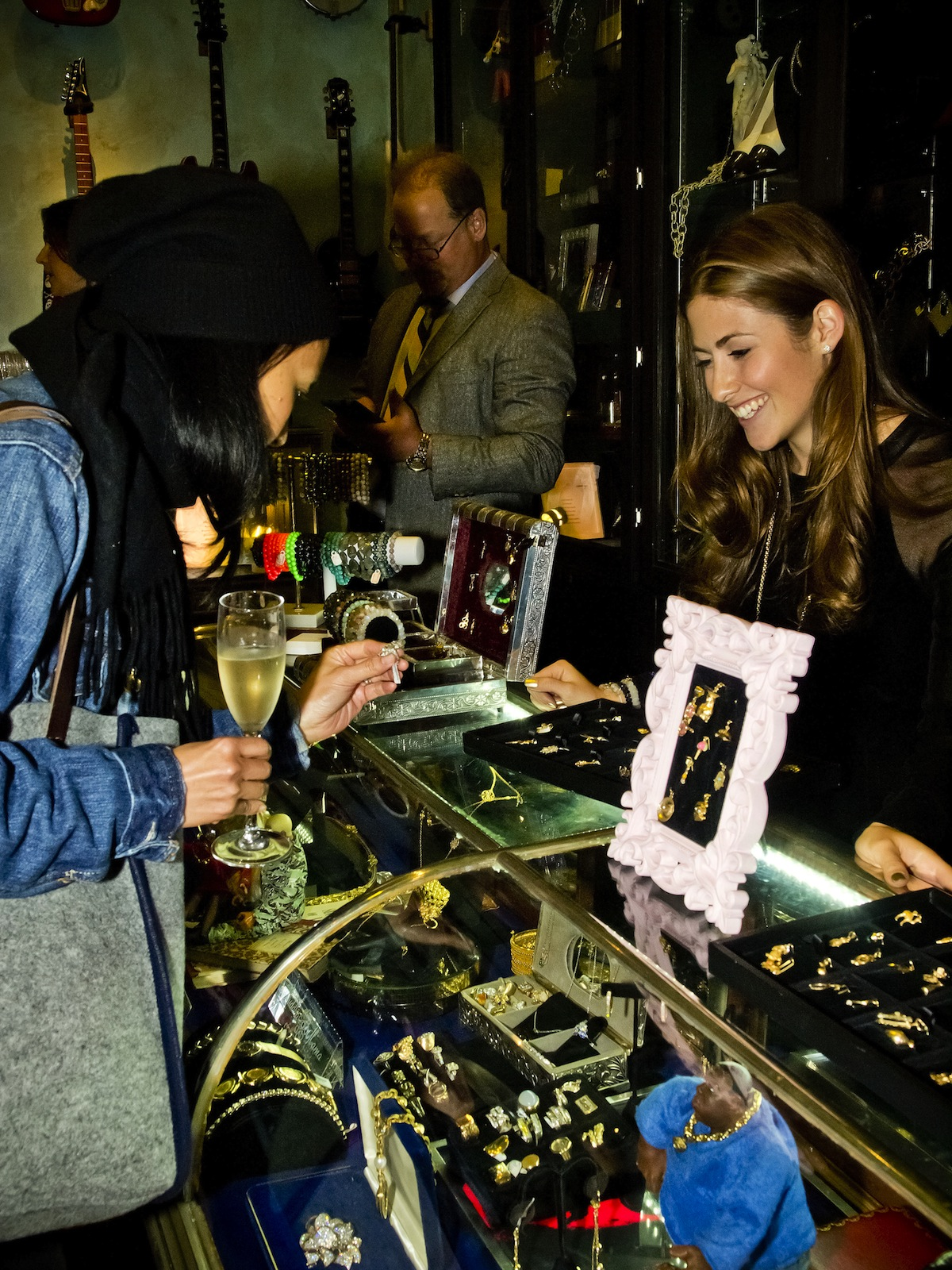 "LoveGold.com and Lauren Kaminsky introduced the new ""Charm Bar"" at the Beauty & Essex Pawn Shop in New York on Oct. 22."