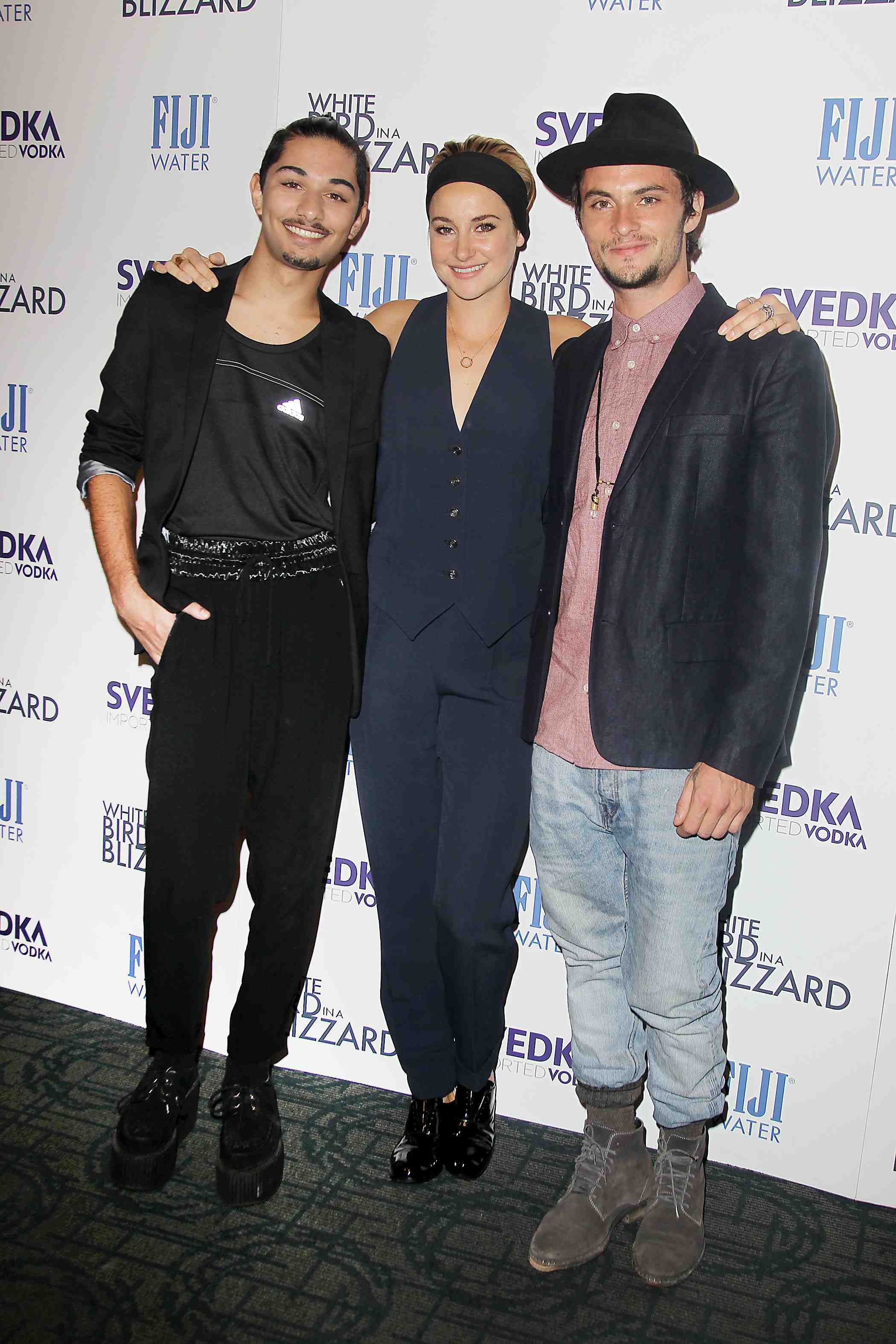 Mark Indelicato, Shailene Woodley and Shiloh Fernandez at an after-party, presented by FIJI Water and SVEDKA Vodka, for a special New York screening of Magnolia Pictures'  White Bird In a Blizzard on Oct. 15 at Louie & Chan. (Amanda Schwab/Starpix)