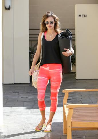 Alessandra Ambrosio (in an Under Armour Perfect capri) was spotted in L.A. Oct. 5 leaving a workout. (Bauer-Griffin.com)