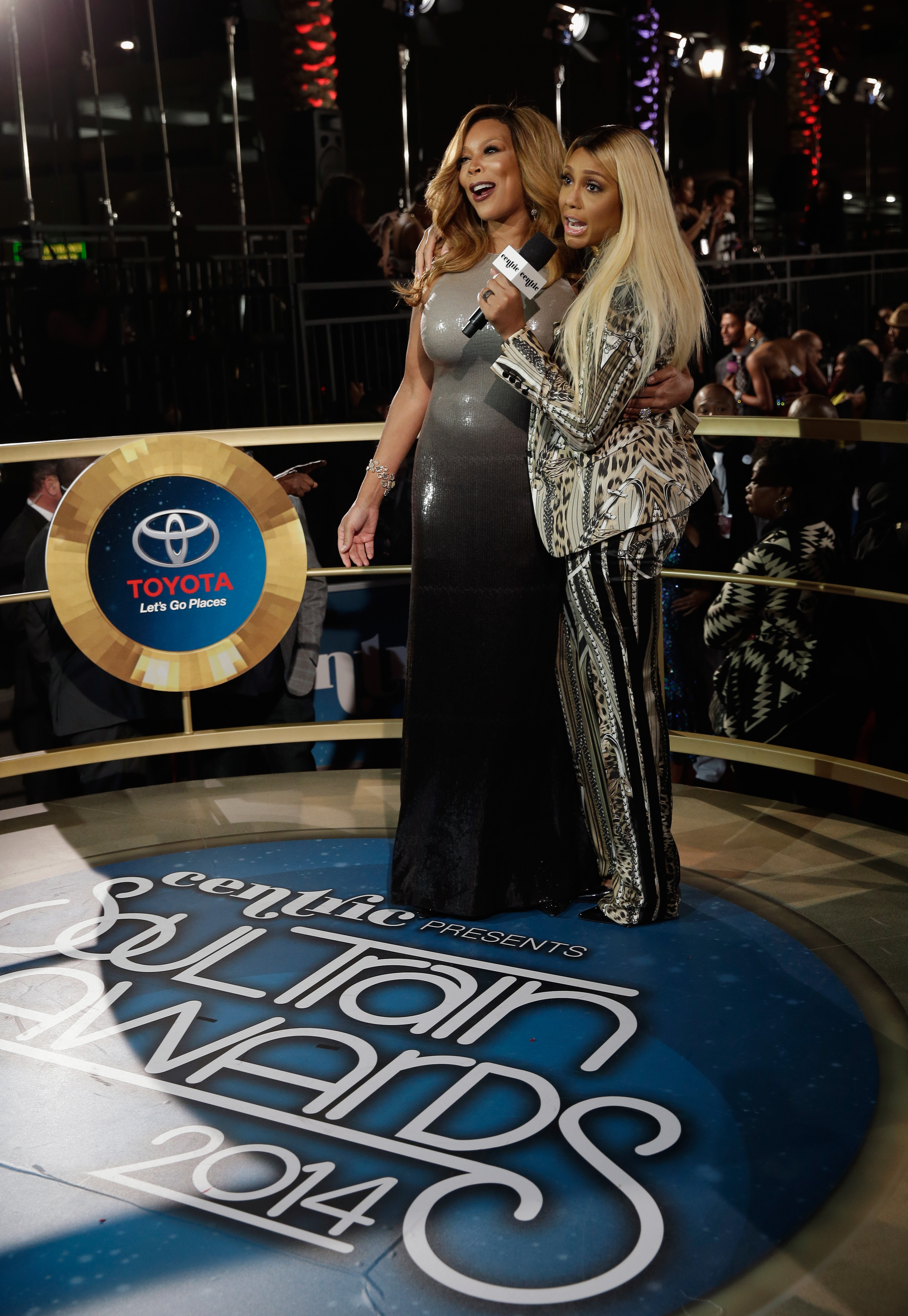LAS VEGAS, NV - NOVEMBER 07:  TV host Wendy Williams (L) and singer Tamar Braxton attend the 2014 Soul Train Music Awards at the Orleans Arena on November 7, 2014 in Las Vegas, Nevada.  (Photo by Isaac Brekken/BET/Getty Images for BET)