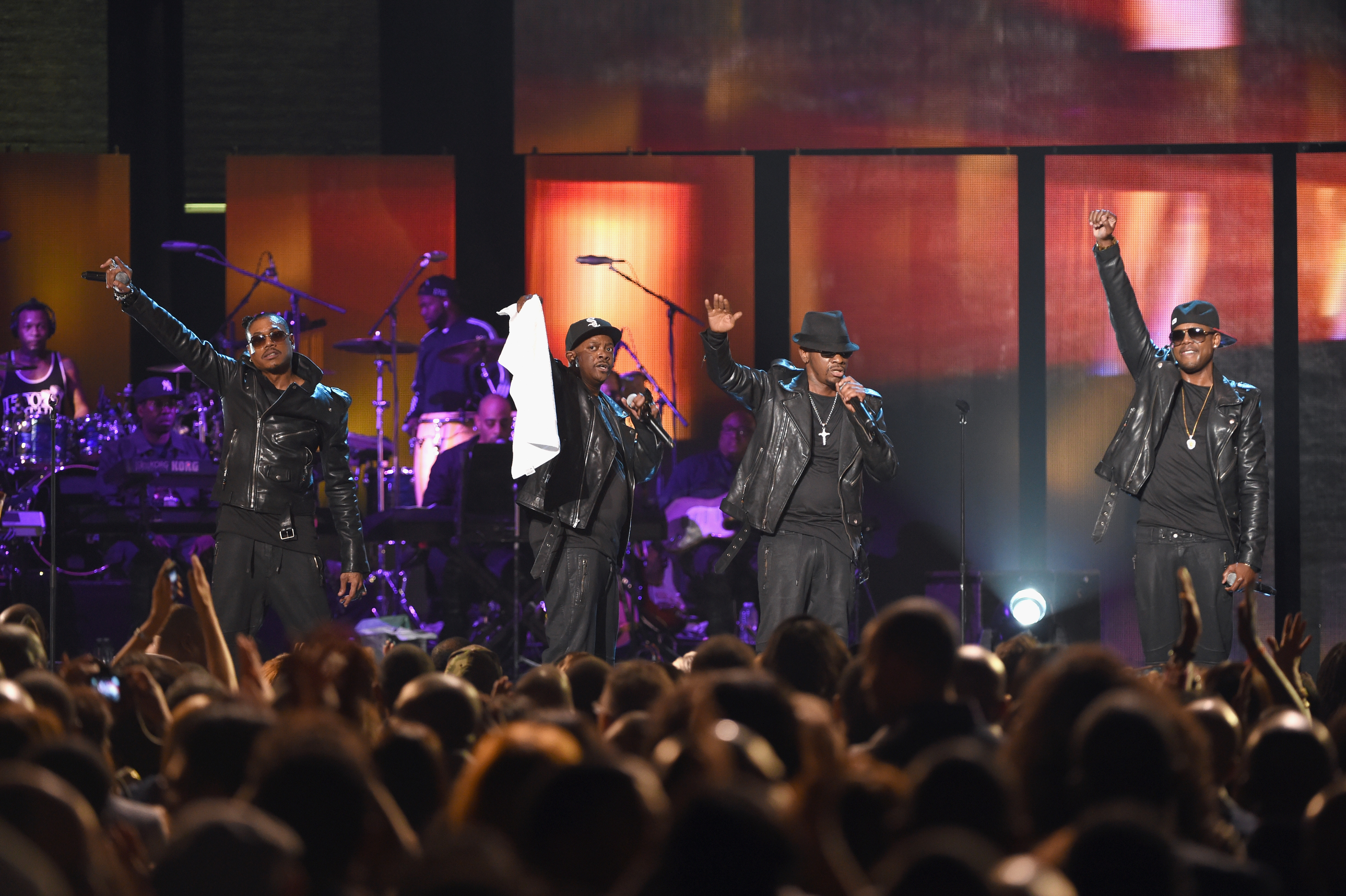 "LAS VEGAS, NV - NOVEMBER 07:  (L-R) Singers Joel ""Jojo"" Hailey, DeVante Swing, Cedric ""K-Ci"" Hailey and Dalvin DeGrate of Jodeci perform onstage during the 2014 Soul Train Music Awards at the Orleans Arena on November 7, 2014 in Las Vegas, Nevada.  (Photo by Ethan Miller/BET/Getty Images for BET)"