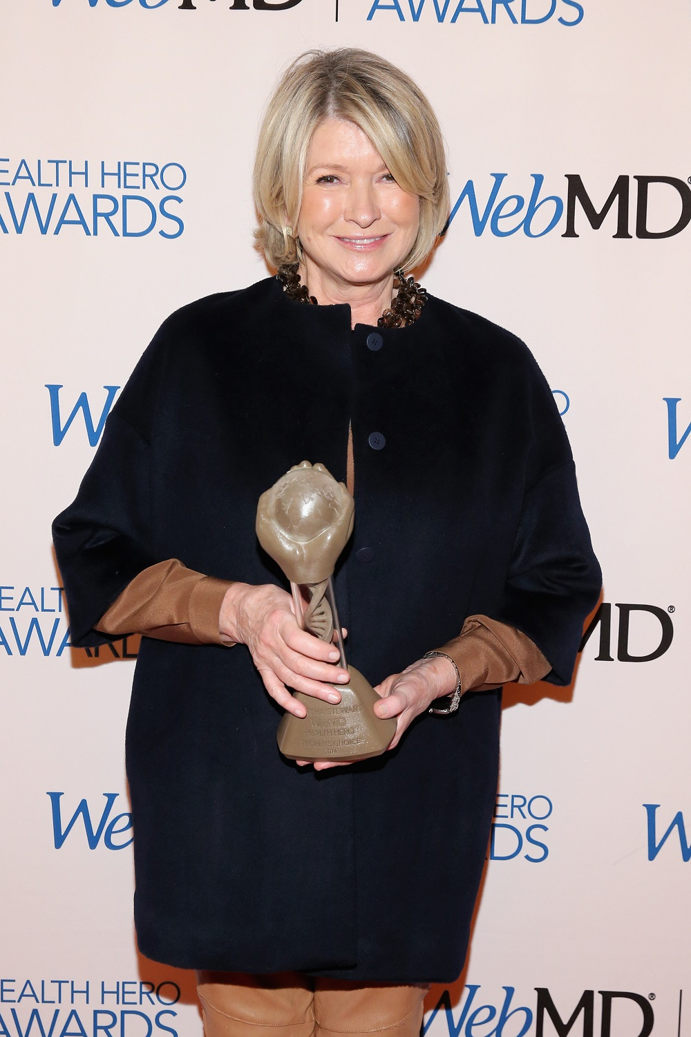 NEW YORK, NY - NOVEMBER 06:  Martha Stewart poses with an award backstage at the 2014 Health Hero Awards hosted by WebMD at Times Center on November 6, 2014 in New York City.  (Photo by Neilson Barnard/Getty Images for WebMD)