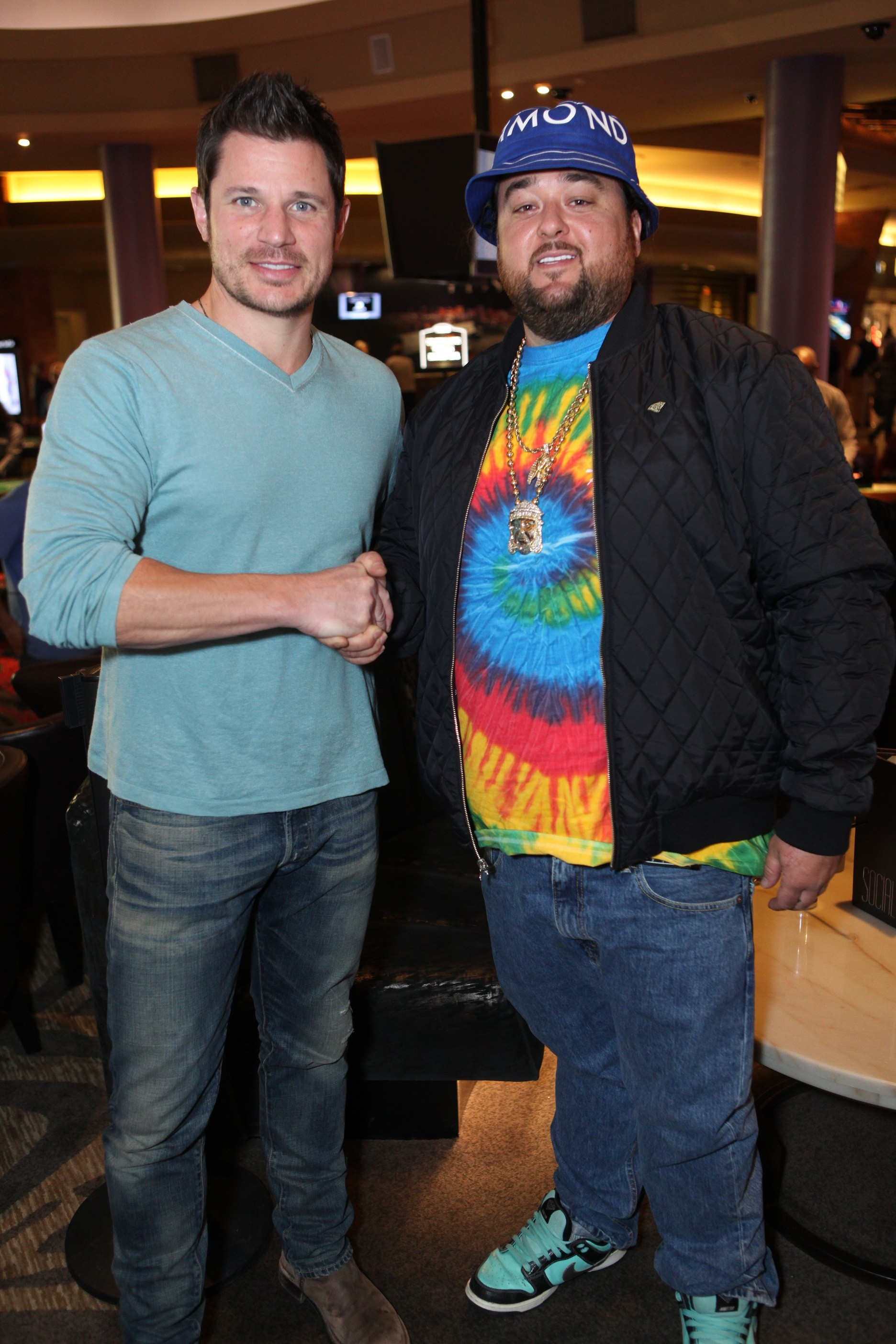 Nick Lachey bumped into Pawn Star's Chumlee at SOCIAL at the Palms Casino on Feb. 28, 2015, in Las Vegas. (Joe Fury)