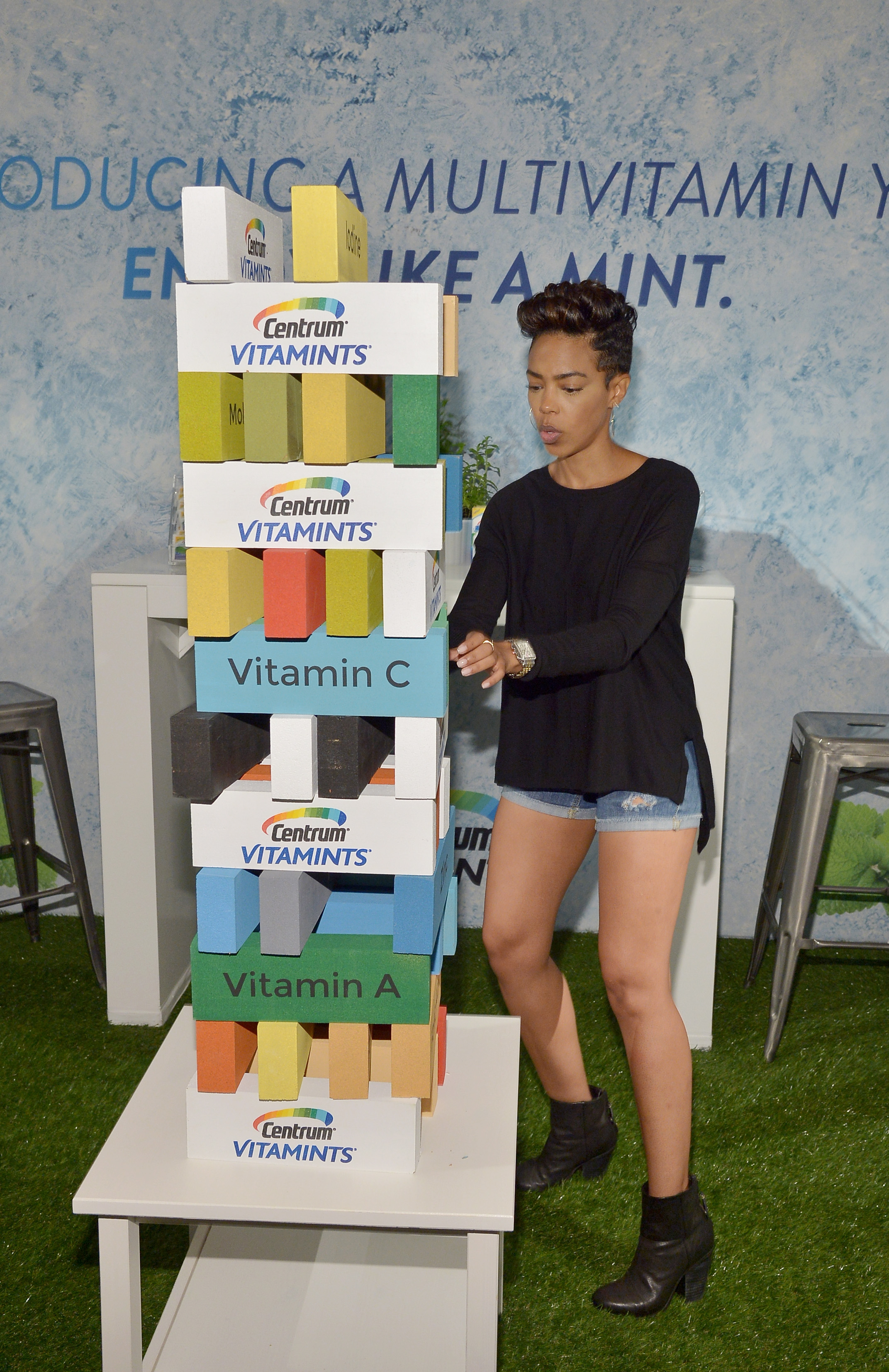 "Jenga anyone? Actress Jazmyn Simon experiences new Centrum VitaMints a refreshing new way to get essential vitamins and minerals at EXTRA's ""WEEKEND OF 