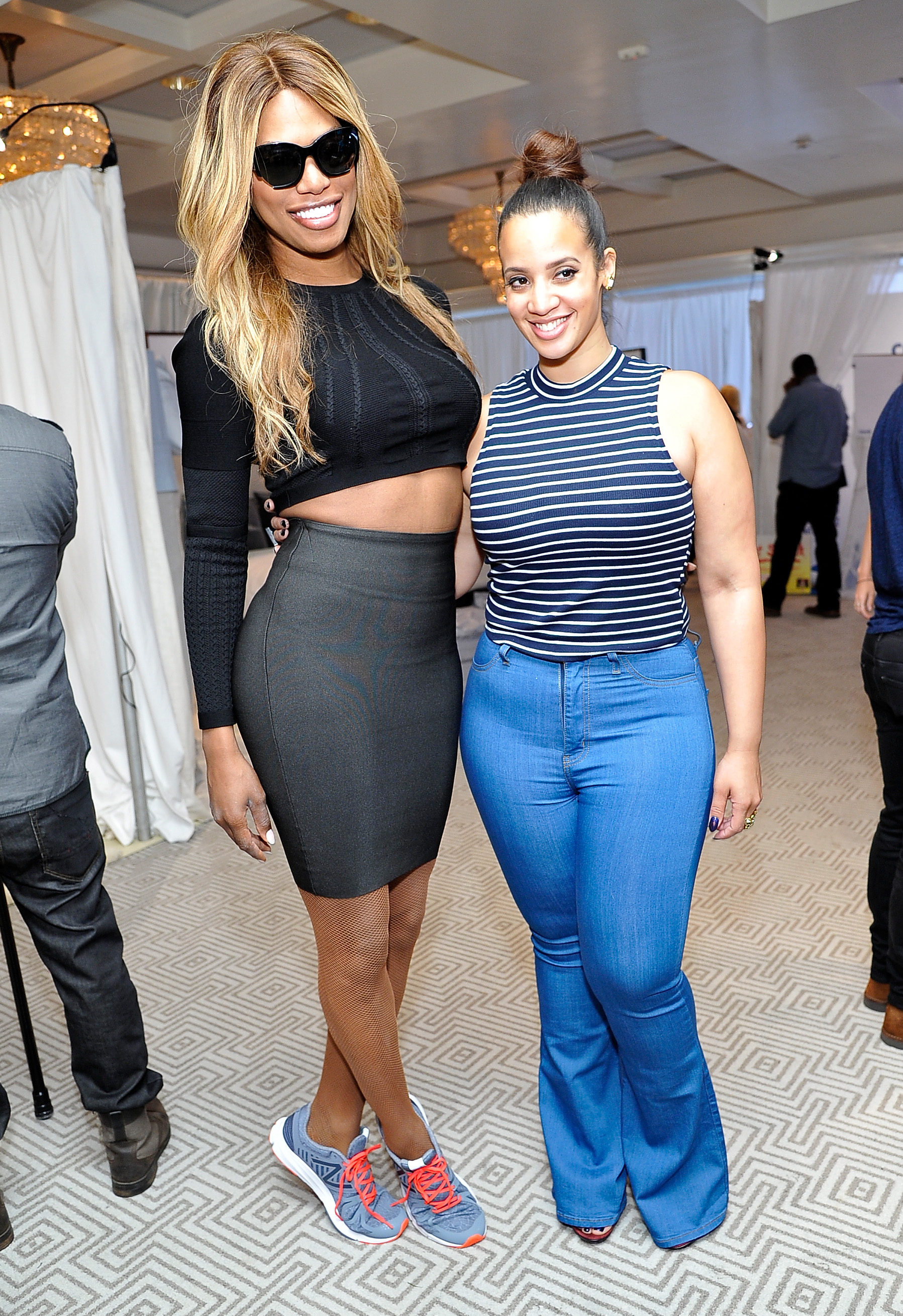 "Orange Is The New Black Reunion! Laverne Cox (L) and Dascha Polanco attend EXTRA's ""WEEKEND OF 
