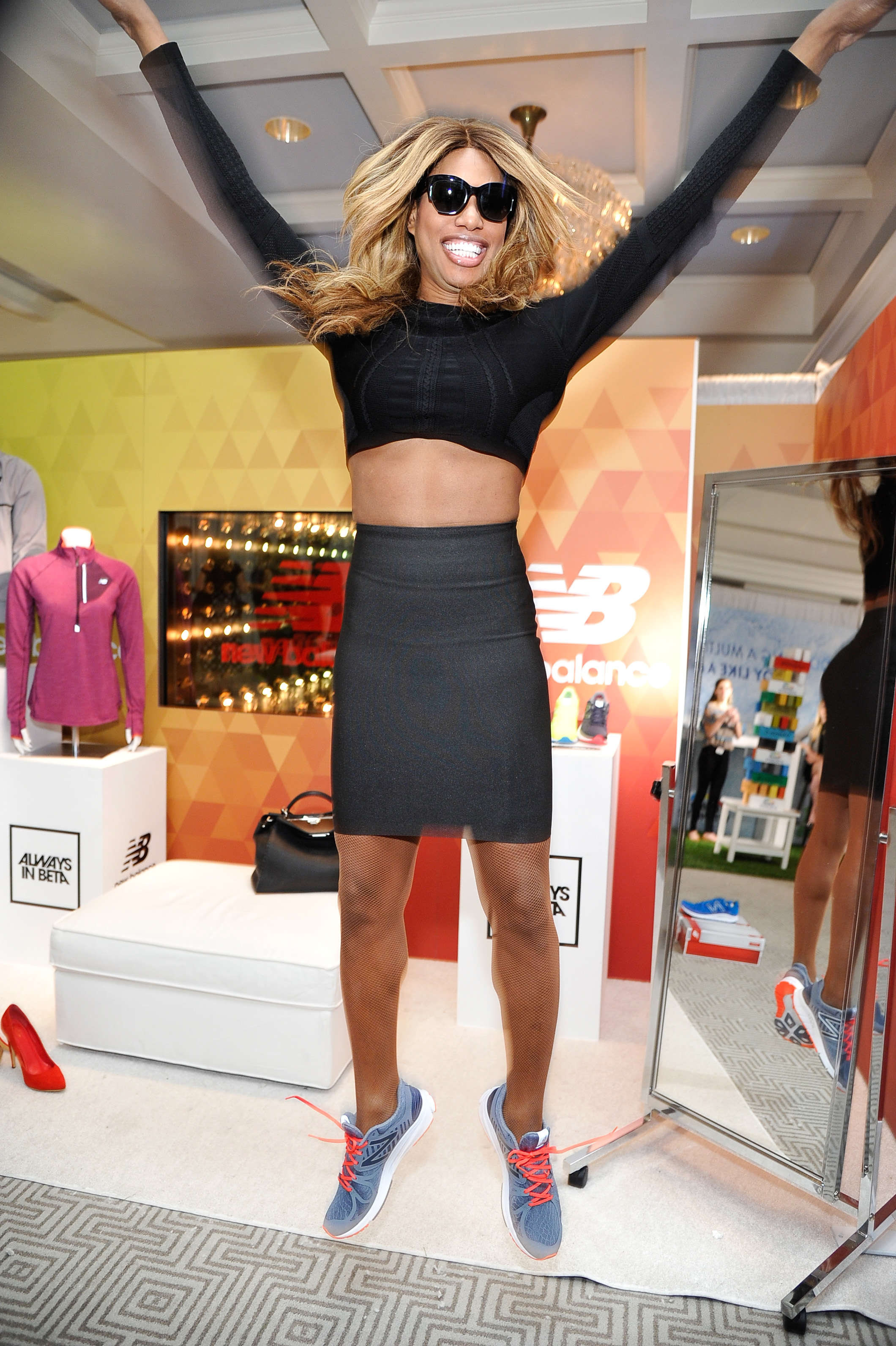 "Jumping for joy! Laverne Cox attends EXTRA's ""WEEKEND OF 